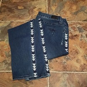 Dear John distressed denim with embroidery